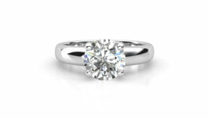 Diamond Engagement Ring | Wide Band Solitaire Ring Set In 18 Carat White Gold