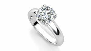 Diamond Engagement Ring | 18 Carat White Gold Wide Band Solitaire Ring