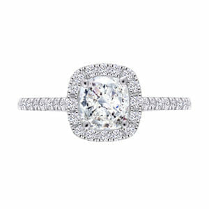 Cushion Cut Diamond Halo with Micro-Set Band | Diamond Engagement Ring | Cushion Cut Diamond Surrounded By A Halo Of White Diamonds Set In 18 Carat White Gold
