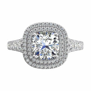 Diamond Engagement Ring | 18 carat white gold double diamond halo ring