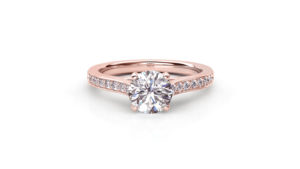 Round Diamond Solitaire Ring with Pavé-Set Band | Rose Gold Diamond Ring