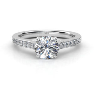 round diamond solitaire ring with micro-set band set in 18 carat white gold | Diamond Engagement Ring