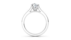 round diamond solitaire ring with micro-set band | Diamond Engagement Ring