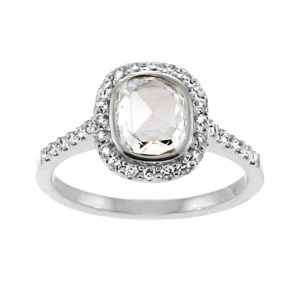 Rose Cut Cushion Diamond Halo Ring 2