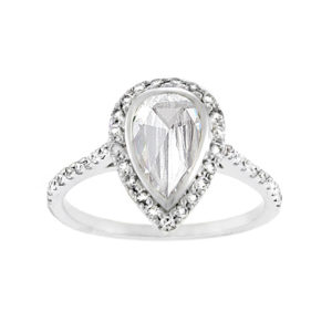 Rose Cut Pear Diamond Halo Ring