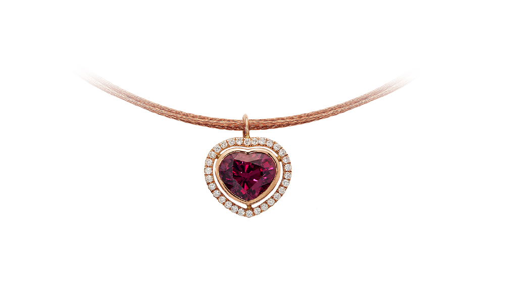 African Love | Rose Gold With Heart Shaped Rhodalite Surrounded By A Halo Of Diamonds | Rhodalite And Diamond Necklace