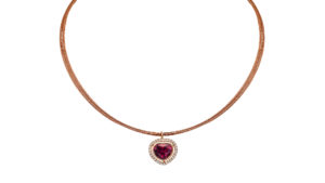 Rose Gold With Heart Shaped Rhodalite Surrounded By A Halo Of Diamonds | Rhodalite And Diamond Necklace