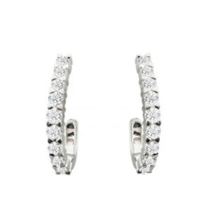 Diamond hoop earrings | 18 carat white gold diamond half hoop earrings