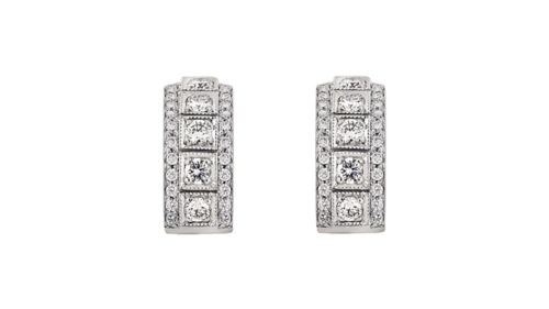 Square-set diamond studs | 18 carat white gold stud earrings with round brilliant cut white diamonds