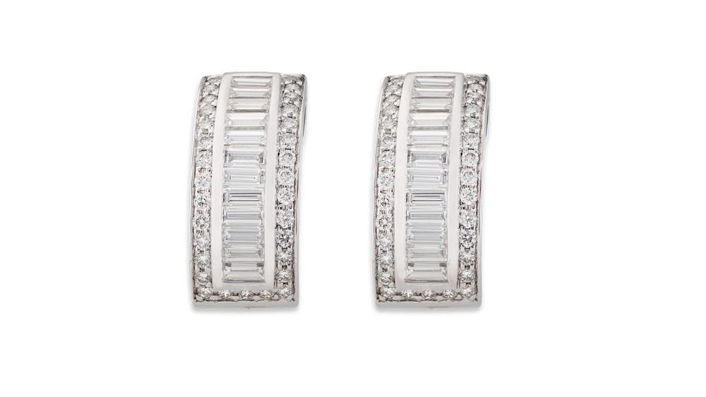 Baguette and Round Brilliant Diamond Studs   White gold stud earrings with baguette and round brilliant diamonds