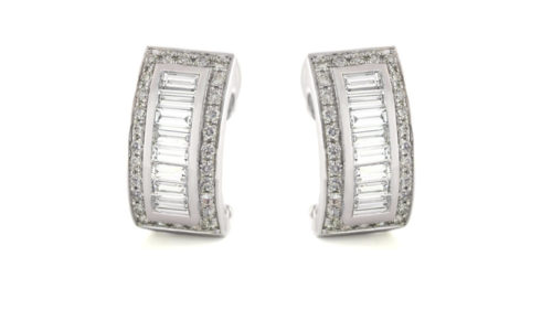 Baguette and Round Brilliant Stud Earrings | 18 carat white gold baguette and round brilliant diamond studs