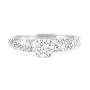 Round Brilliant Diamond Ring with Pavé-Set Band | A stunning vintage romance inspired diamond ring handcrafted in 18 carat white gold