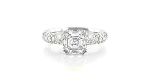 Asscher Cut Diamond Ring with Pavé-Set Band | 18 carat white gold diamond ring with an asscher cut centre diamond with 107 pave-set diamonds down the band