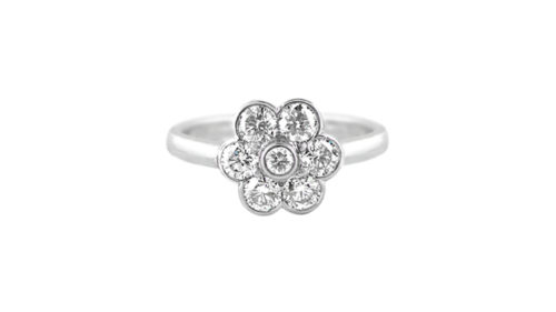 Diamond Daisy Ring | 18 carat white gold vintage flower style diamond ring