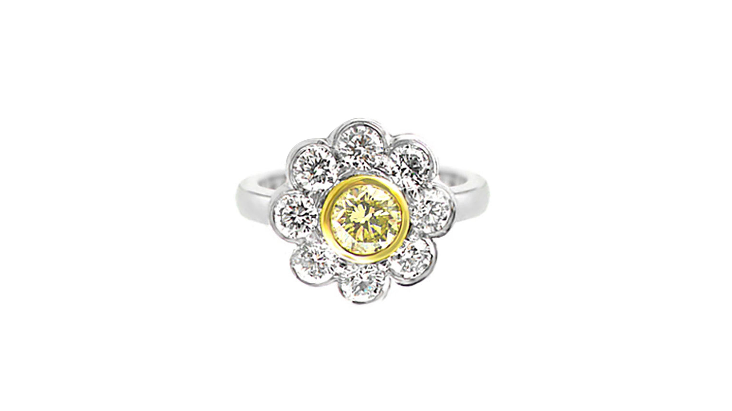 yellow & white diamond daisy ring | Handcrafted in 18 carat white and yellow gold