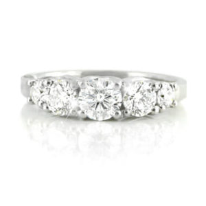 vintage claw-set diamond ring | 18 carat white gold diamond ring