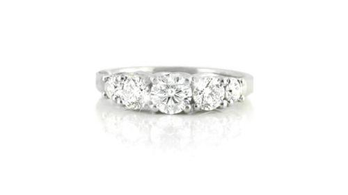 vintage claw-set diamond ring | 18 carat white gold diamond ring