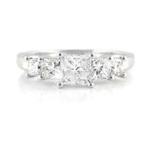 Princess Diamond Multi-Stone Ring | Set in 18 carat white golf