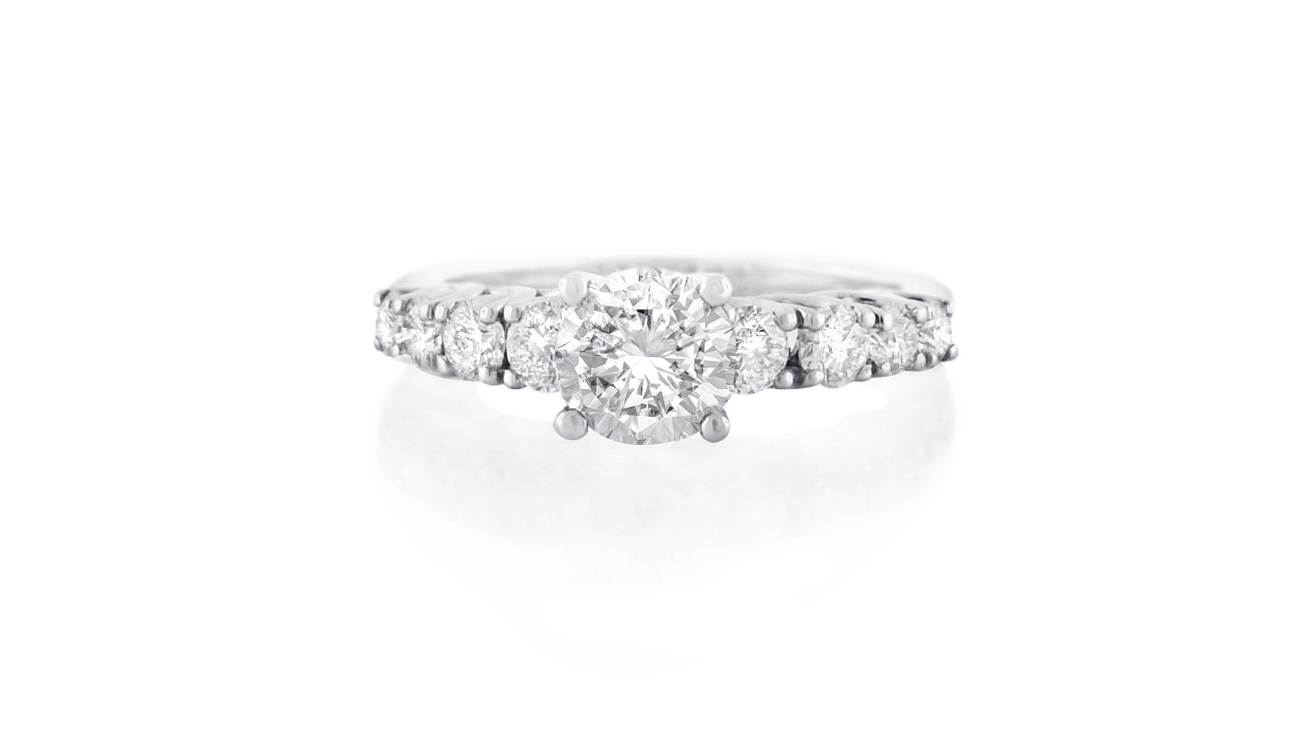 diamond trellis claw ring   Diamond ring set in 18 carat white gold