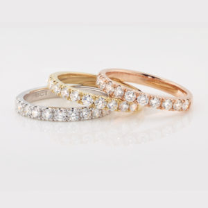 Micro-set diamond eternity rings | Diamond eternity rings in 18 carat white, yellow and rose gold | Diamond Wedding Bands