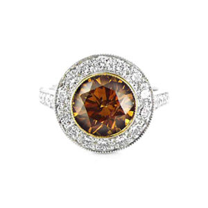 Brown diamond halo ring