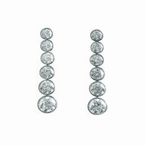 Tube-Set Diamond Tennis Earrings