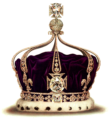 The Koh-i-noor diamond mounted in the centre of the cross pattée on the Queen Elizabeth the Queen Mother's Crown | A History of Diamonds