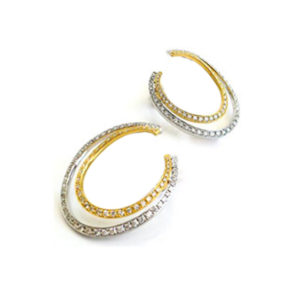 Oval Two-Tone Diamond Earrings | These earrings feature an oval front-facing design set in 18 carat white and yellow gold with 168 white diamonds