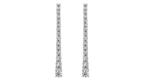 Diamond Tennis Earrings | 18 carat white gold diamond tennis earrings with 30 diamonds