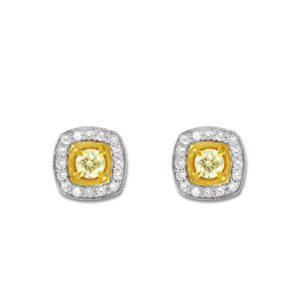 Cushion Yellow and White Halo Drop Earrings | A cushion cut diamond surrounded by a halo of small diamonds set in 18 carat white & yellow gold