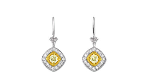 Yellow and white diamond halo earrings | Handcrafted in 18 carat white and yellow fold