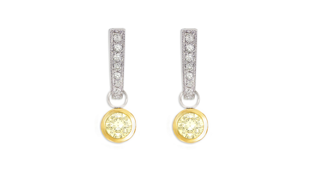 yellow and white gold diamond drop earrings handcrafted in 18 carat yellow and white gold