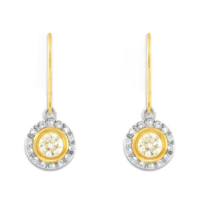 Cape and White Diamond Halo Drops | 18 carat white and yellow gold earrings with a cape colour diamond surrounded by a halo of white diamonds