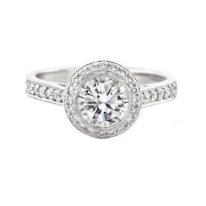 Round Diamond Halo Ring with Pavé Band | Set in 18 carat white gold
