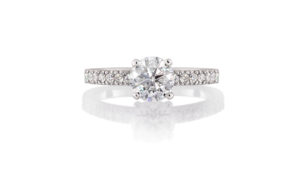 Round Diamond Solitaire Ring with Micro-Set Band