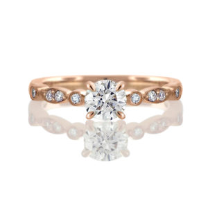 rose gold vintage inspired diamond ring | 14 carat rose gold diamond ring