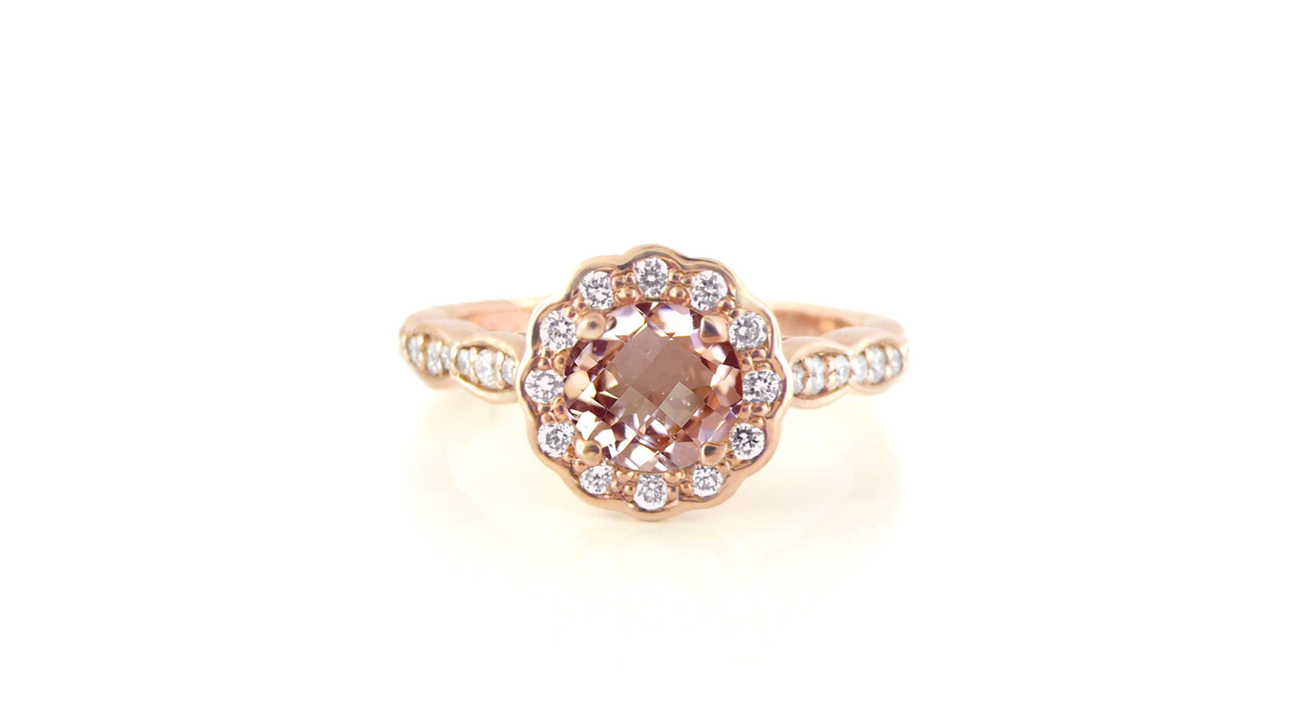Morganite coloured gemstone with scalloped diamond halo | Set in rose gold