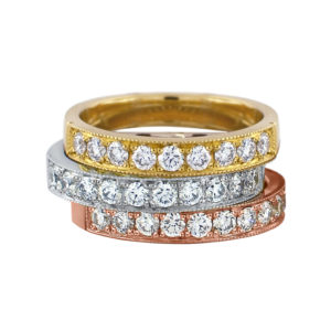 eternity rings 014 | Diamond eternity rings set in 18 carat yellow, white and rose gold