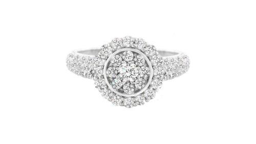 Diamond Cluster Halo Ring | A diamond illusion cluster of white round brilliant cut diamonds set in 18 carat white gold.