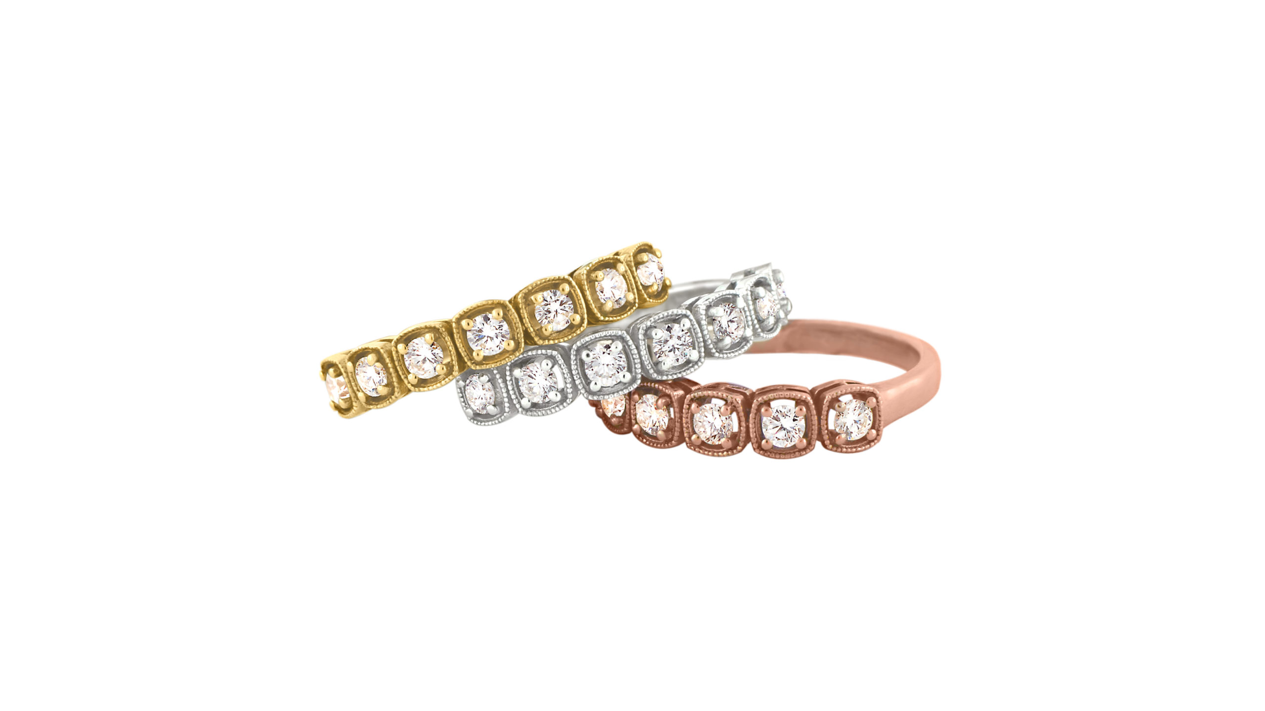 Diamond Eternity Rings | Cushion Vintage Inspired Eternity Rings