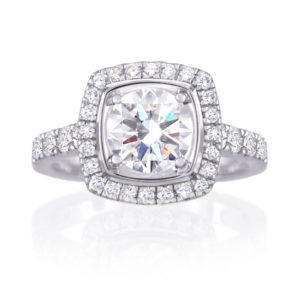 cushion-shaped diamond halo ring | 18 carat white gold diamond halo ring