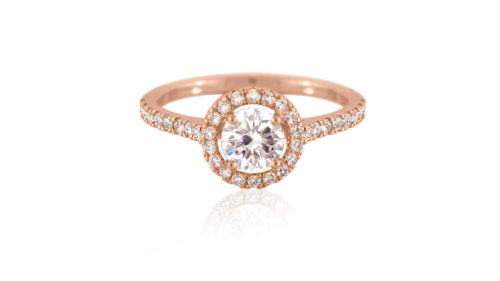 rose gold diamond halo ring with micro-set band | An 18ct Rose Gold Diamond Halo Ring with Micro-Set Band | Diamond Rings