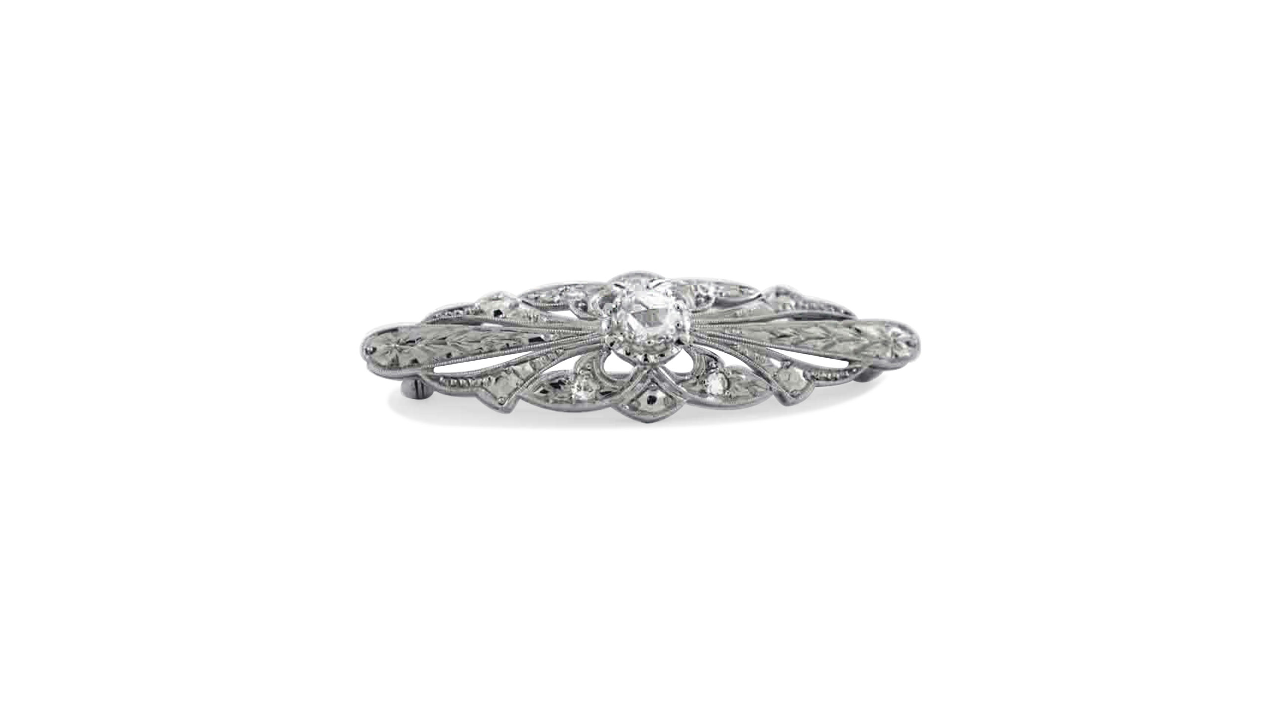 vintage rose-cut diamond brooch crafted in 14 and 18 carat white gold | Diamond jewellery | Antique diamond brooch