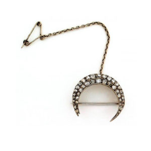 antique rose-cut crescent brooch pin crafted in 14 carat gold   Diamond Jewellery
