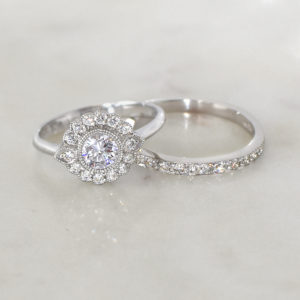 Vintage-Inspired Floral Diamond Halo Ring set in 18 carat white gold | Diamond Halo Rings