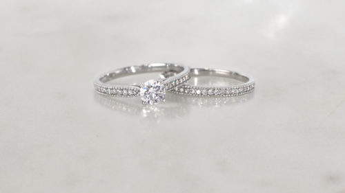 vintage-inspired diamond ring set | Handcrafted diamond engagement and diamond eternity ring
