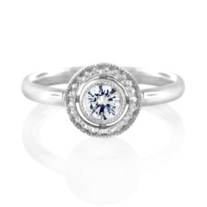 Antique-Style Diamond Halo Ring Set in 18 Carat White Gold | Diamond Rings | Vintage Romance Rings