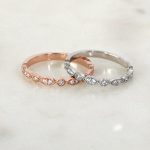 Vintage-Inspired Diamond Half Eternity Rings set in 14ct white and rose gold | Diamond Rings | Diamond Wedding Rings