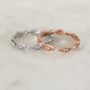 Vintage-Inspired Diamond Eternity Rings in rose gold, yellow gold, white gold | Diamond Wedding Rings