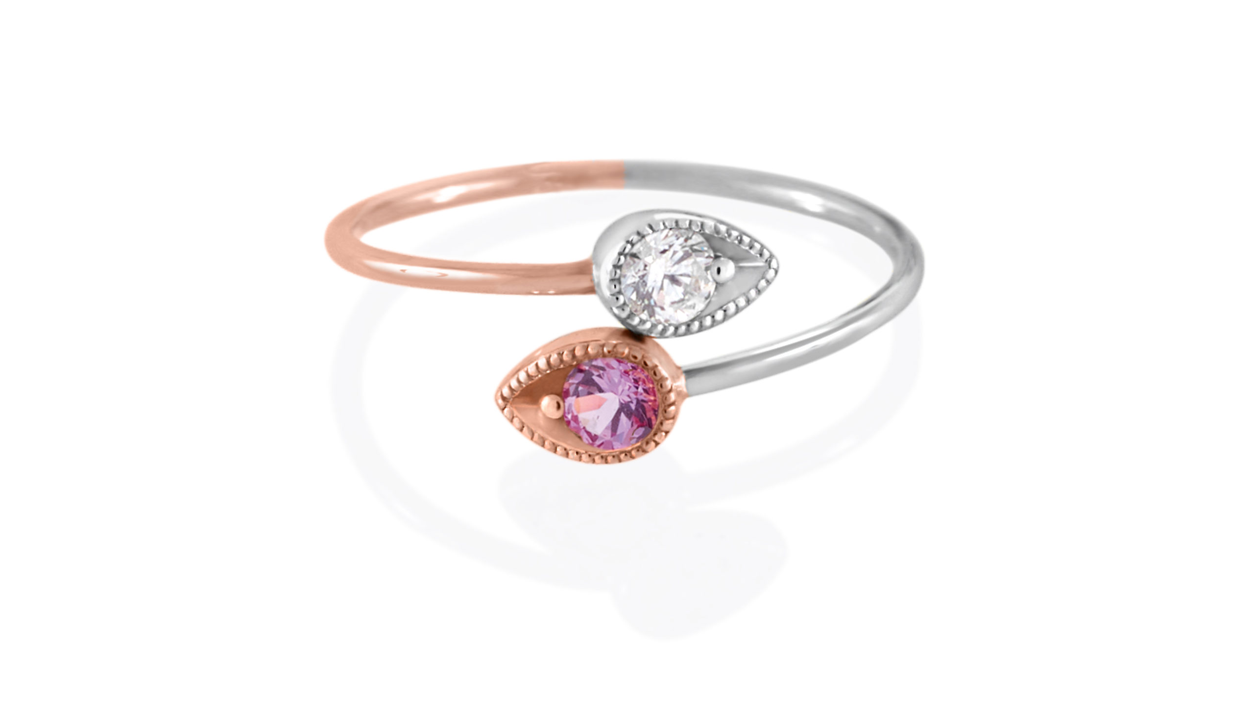 14 Carat Two Tone White & Rose Gold Spiral Ring With Pink & White Sapphire Gemstones